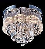 "Saint Mossi Chandelier Modern K9 Crystal Raindrop Chandelier Lighting Flush Mount LED Ceiling Light Fixture Pendant Lamp for Dining Room Bathroom Bedroom Livingroom 9 G9 Bulbs Required H12"" X D18"""