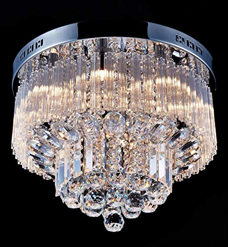 "Saint Mossi Chandelier Modern K9 Crystal Raindrop Chandelier Lighting Flush Mount LED Ceiling Light Fixture Pendant Lamp for Dining Room Bathroom Bedroom Livingroom 9 G9 Bulbs Required H12"" X D18"""