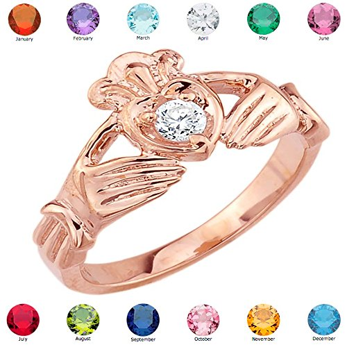 Women's Fine 10k Rose Gold Custom Personalized CZ Heart Birthstone Claddagh Ring, Size 8