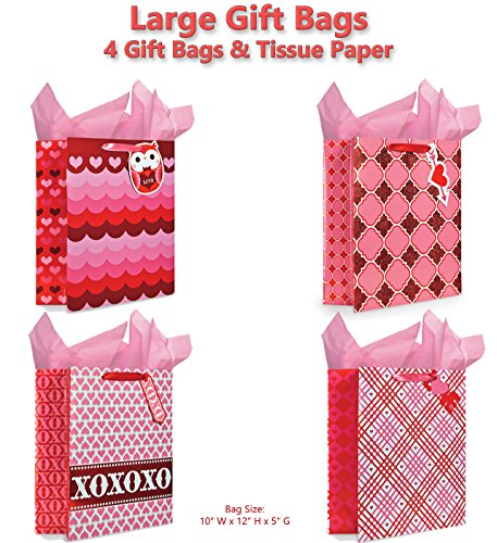 B-THERE Gift Bags with Tissue Paper Included XOXO Gift Bags, Great for Mothers Day or Valentines Day Glitter and Reflective Foil Designs, Large, Pink/Red, Set of 4 (Valentine Gifts Com)