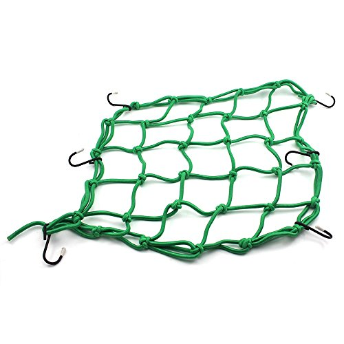 HuntGold 1X Stretch Bicycle Bike MTB Luggage Net Rope Bungee Cargo Net Mesh With Hooks(green)