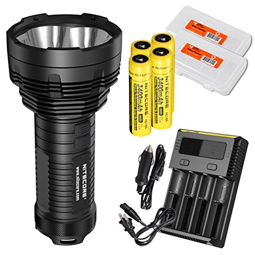 Nitecore Bundle:2015 Latest Tiny Monster TM16 4000 Lumens LED Handheld Searchlight, 4X 3400mAh Batteries i4 IntelliCharger, 2X LumenTac Battery Organizers, Car Adapter