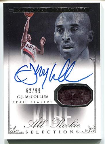 C.J. CJ McCollum Auto Game Used Jersey RC #62/99 (Basketball Card) 2013-14 Panini National Treasures Kobe