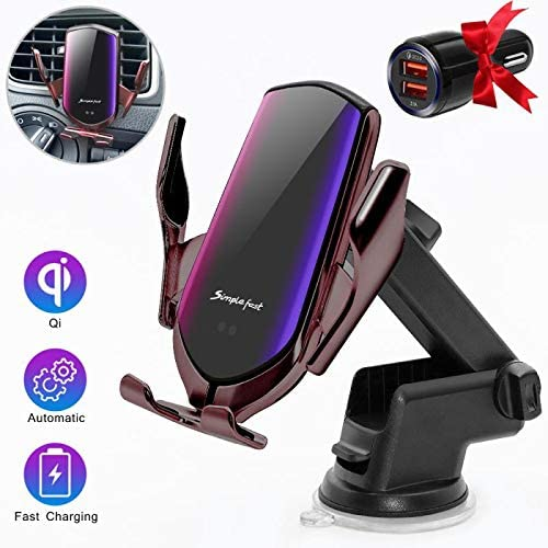 Wireless Car Charger ,10W//7.5W//5W Qi Fast Charging Auto-Clamping Car Mount,Windshield Air Vent 2 in 1Phone Holder Compatible iPhone 11//11 Pro//11 Pro Max//Xs MAX//XS//XR//X//8//8+,Samsung S10//S10+//S9//S9+