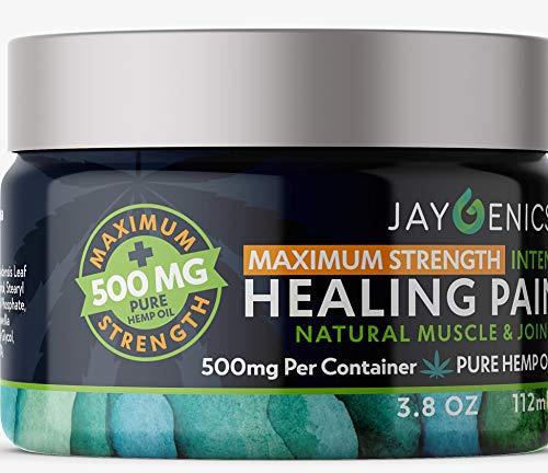 JAYGENICS Hemp Oil Healing Pain Rub: Pure Organic Hemp Pain Relief Cream 500mg| Anti-Inflammatory Arthritis, Back, Knee, Hands, Joints, Neck, Feet & Muscle Soreness Hemp Cream with 10% EMU Oil | 3.8Oz