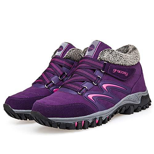 on Warm gracosy Ankle Women's Fashion Fur Shoes Winter Boots Lining Hiking Snow Slip Outdoor Sneakers Purple xqq0CXp