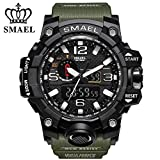 SMAEL Men's Sports Analog Quartz Watch Dual Display Waterproof Digital Watches with LED Backlight relogio masculino (Army Green)