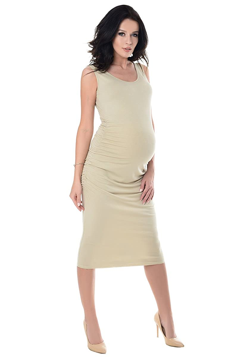 bc493480475cfe Purpless Maternity Sleeveless Jersey Ruched Pregnancy Midi Dress 8130   Amazon.ca  Clothing   Accessories
