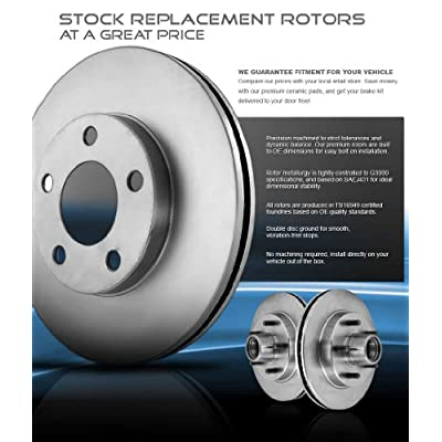 CRK13763 FRONT 305 mm + REAR 324 mm Premium OE 6 Lug [4] Rotors + [8] Quiet Low Dust Ceramic Brake Pads + Clips: Automotive