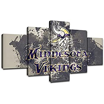 Minnesota Vikings NFL Team Logo Wall Decor Art Paintings 5 Piece Canvas Picture Artwork Living Room American Football Prints Poster Decoration Wooden Framed(60''Wx32''H)