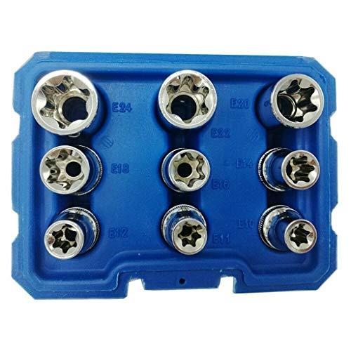 UMFun Details About New 9PC 1/2 Inch(12.5mm) Star Bit Female E Socket Set Blue]()