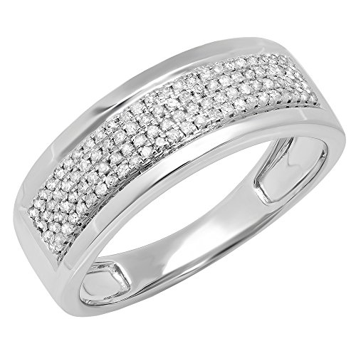 0.40 Carat (ctw) Sterling Silver Real Round Cut Diamond Men's Flashy Pinky Wedding Ring (Size 10)