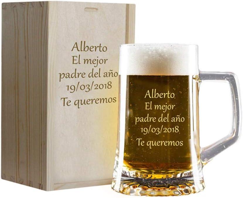 Calledelregalo Regalo Personalizado: Jarra de Cerveza grabada en Estuche de Madera también Grabado