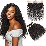 Bleaching Hair Makes It Thicker - Huarisi 3 Bundles with Lace Frontal Water Wave 8A Brazilian Virgin Hair Weft Extensions Deals with Ear to Ear Closure Human Hair Prime 16 18 20+14 Inches