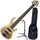 ESP LTD B206SMNS Standard 6-String Electric Bass Guitar (Natural Spalted Maple) w/Stand and Gig Bag