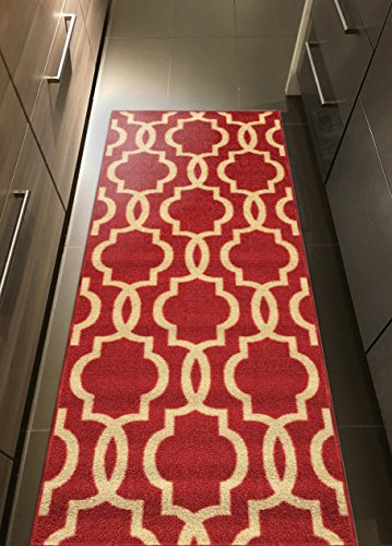 Custom Size Red Fancy Moroccan Trellis Rubber Backed Non-Slip Hallway Stair Runner Rug Carpet 22 inch Wide Choose Your Length 22in X 6ft