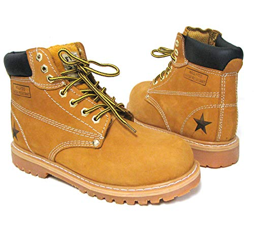 (633-ST Men's Steel Toe Work Boots Tan Nubuck Leather 6