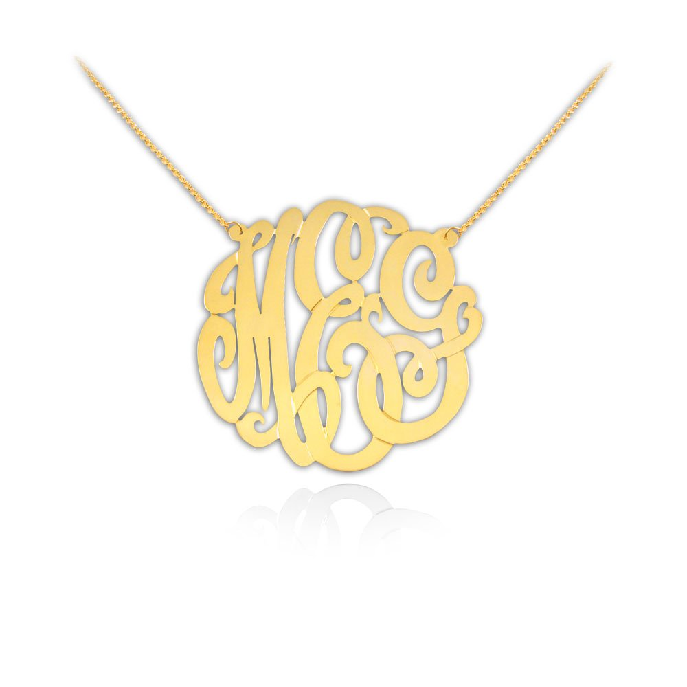 e259a07333 Gold Monogram Necklace 1 inch Handcrafted Designer 24K Gold Plated Sterling  Silver - Personalized Monogram - Initial Necklace - Made in USA