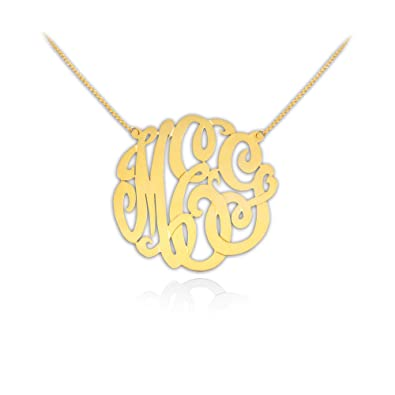 cd6a0c35b68b51 Amazon.com: Gold Monogram Necklace 1 inch Handcrafted Designer 24K Gold  Plated Sterling Silver - Personalized Monogram - Initial Necklace - Made in  USA: ...
