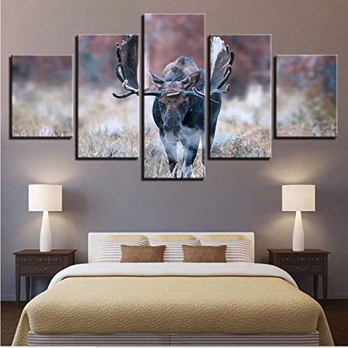 Price comparison product image LSFHB Artwork Hd Prints Canvas Painting Animal 5 Pieces Wall Art Creative Modular Pictures for Bedside Background Home Decor Poster A-250X175Cm