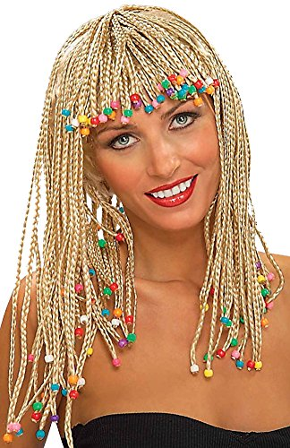 Forum Novelties Women's Adult Corn Row with Beads Costume Wig, Blonde, One Size ()