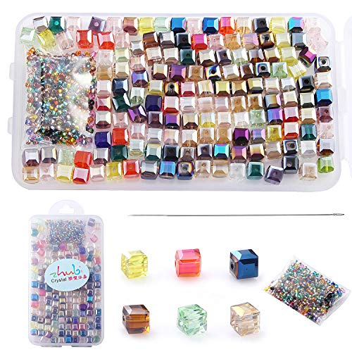 - Multicolor AB Crystal Beads Square Glaze Glass Bead Quartz Loose Beads 6MM Cube Beads 150pcs for Bracelets Necklaces, with 200pcs Glass Seed Beads into a Storage Box,ZHUBI