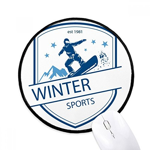 Winter Sport Snow Mountain Illustration Round Non-Slip Mousepads Black Titched Edges Game Office Gift