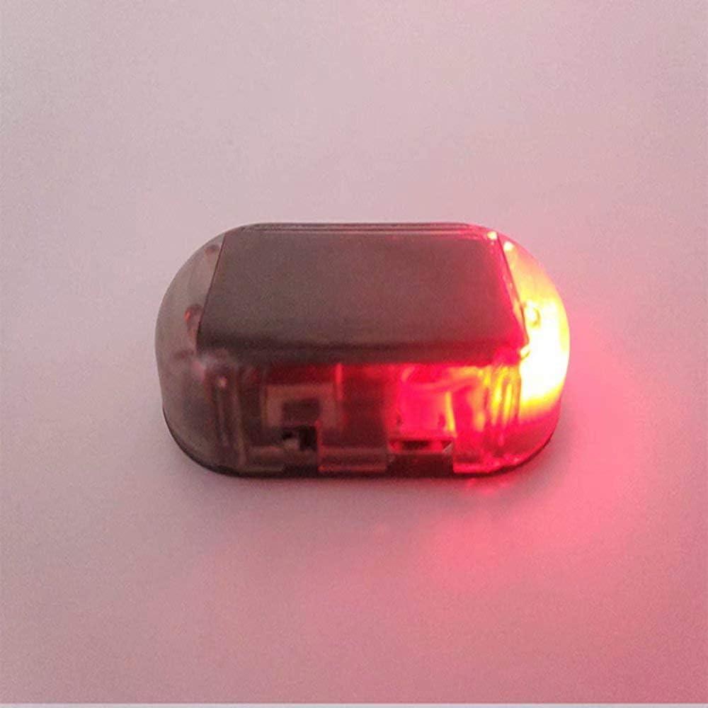 Paddsun 2pcs Car Solar Power Simulated Dummy Alarm Warning Anti-Theft LED Flashing Security Light Fake Lamp Blue + Red