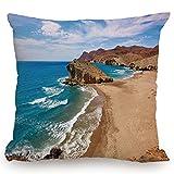 KissCase Throw Pillow Cushion Cover,Landscape,Ocean View Tranquil Beach Cabo De Gata Spain Coastal Photo Scenic Summer Scenery,Blue Brown,Decorative Square Accent Pillow Case