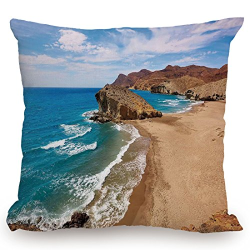 KissCase Throw Pillow Cushion Cover,Landscape,Ocean View Tranquil Beach Cabo De Gata Spain Coastal Photo Scenic Summer Scenery,Blue Brown,Decorative Square Accent Pillow Case by KissCase