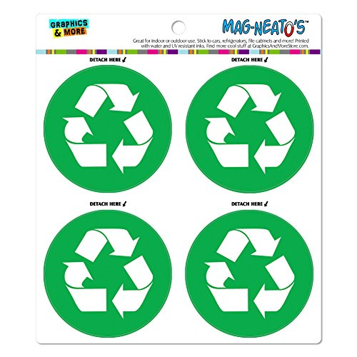 [Recycle Green MAG-NEATO'S(TM) Automotive Car Refrigerator Locker Vinyl Magnet Set] (Mag Green)
