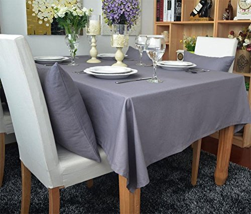 (KINGDESON Cotton Linen Rectangle Polyester Solid Color Modern Tablecloth Multi Sized)