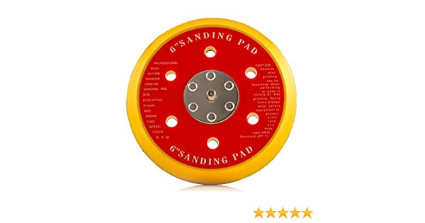 6 Holes Glass Polish 4350468348 Diameter 6 inch GP12715 DA Dual Action Hook and Loop Backing pad with 5//16-24 Thread