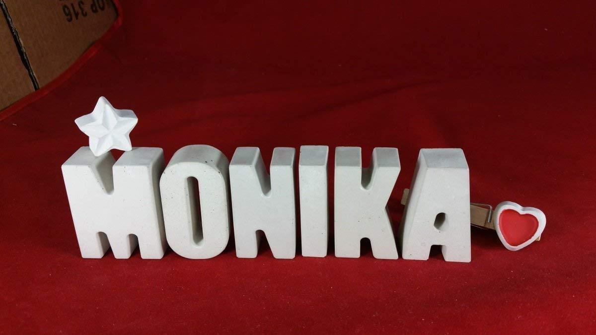 Ein ausgefallenes Geschenk zur Geburt Geburtstag Steinguss Buchstaben 3 D Deko Schriftzug Namen MONIKA als Geschenk verpackt Beton Namenstag oder auch zu anderen Anl/ässen. Taufe
