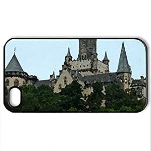Ancient Castle - Case Cover for iPhone 4 and 4s (Ancient Series, Watercolor style, Black)