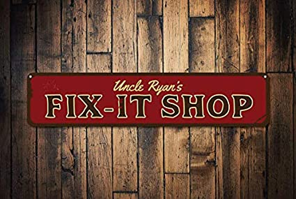 45c011284db53 Amazon.com: Fix-It Shop Sign, Custom Shop Decor, Gift Handyman Sign ...
