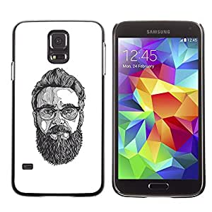 Plastic Shell Protective Case Cover || Samsung Galaxy S5 SM-G900 || Glasses Art Painting Beard Hipster @XPTECH