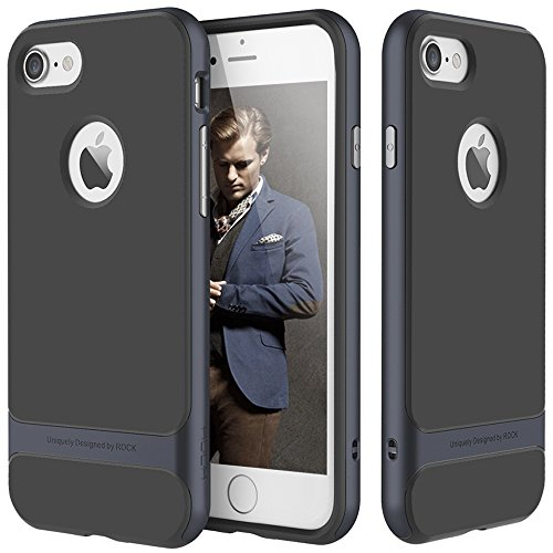 ROCK Ultra Thin Fit Dual Layered TPU Armor Hybrid Case for iPhone 6 Plus 6s Plus Navy Blue Black