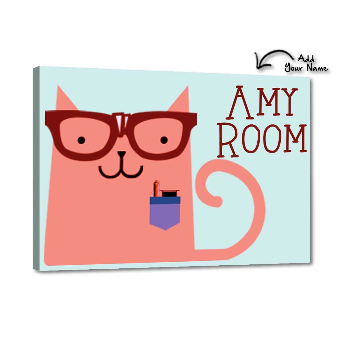 Nutcase Personalized Kids Baby Room Door Sign/Name Plate/Wall Plaque - Screws Included - 12''x8''- Office Cat