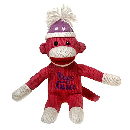 Sock Monkey Plush - 12 Valentines Day Sock Monkey - Hugs and Kisses - Pink White and Purple with Hearts Hat - Perfect for Valentines Day Gift