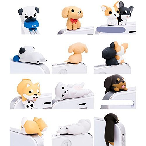 Little Puppy 3.5mm Dust Plug 6 Pcs of Jack Earphone Cap for iphone 6, iphone 5s/5/4s/4, Samsung S3 (Iphone Charms)