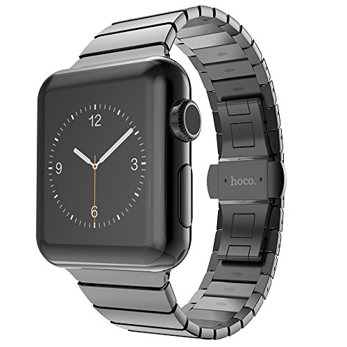 Apple Watch Band HOCO iWatch Smart Watch Band Stainless Steel Metal Link Bracelet Strap with Double Button Folding Clasp For Apple Watch Series 3 Series 2 Series 1 Sport and Edition (Space Gray, 42MM) by hoco.