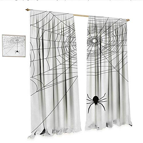 WinfreyDecor Spider Web Customized Curtains Complex Doodle Net Sticky Gossamer Hunting Insect Catch Danger Prey Spooky Thermal Insulating Blackout Curtain W96 x L108 Black White.jpg
