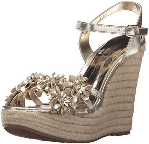 Carlos by Carlos Santana Women's Belinda Wedge Sandal, Platino, 9 Medium US