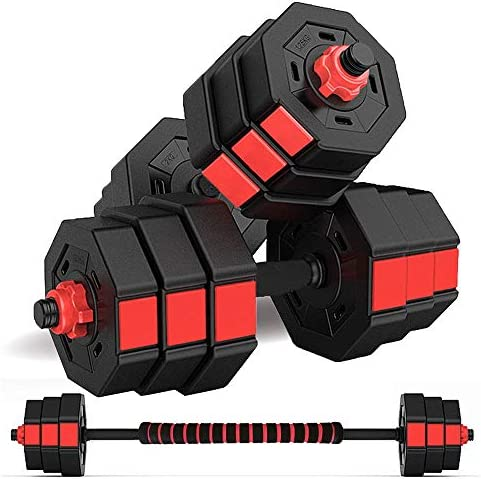 wolfyok Fitness Dumbbells Set, Adjustable Weight to 66Lbs, Home Fitness Equipment for Men and Women Gym Work Out Exercise Training with Connecting Rod Used as Barbells (Pair)