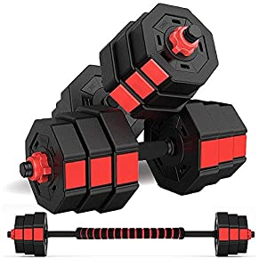 wolfyok Dumbbells Set, Adjustable Weights 2-in-1 Set Barbell 44Lb/66Lb, Home Fitness Equipment for Men and Women Gym…