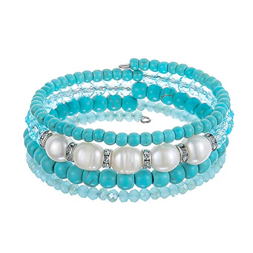 Beaded Freshwater Pearl Chakra Bracelet - Multi Strand Wrap Bracelet with Natural Crystal Agate Beads, Birthday Gifts for Women (Turquoise) (Pearl Beaded Wrap Bracelet)