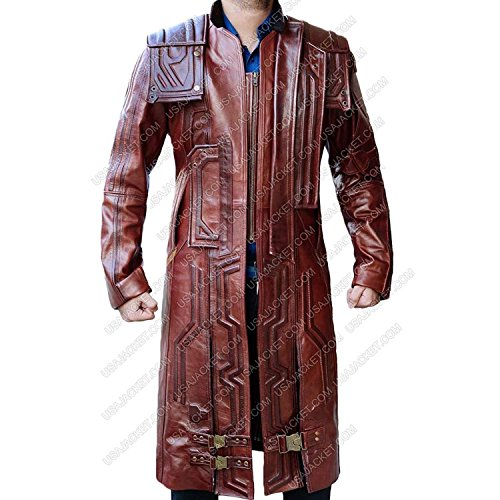 Captain Reynolds Costume (Star Men's Leather Coat - Galaxy 2 Red Trench Long Costume Lord Jacket (XXL, Maroon))