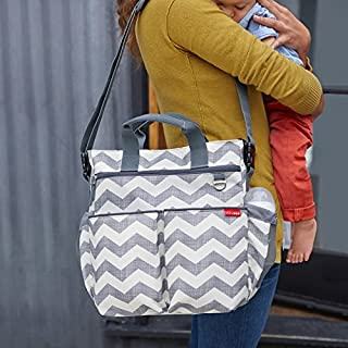 Skip Hop Diaper Bag: Iconic Duo Signature Function Forward Tote with Changing Pad & Stroller Attachement, Chevron