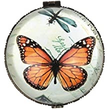 """StealStreet SS-G-22006 Orange Butterfly And Dragonfly Trinket Box With Hinges, 3.25"""""""